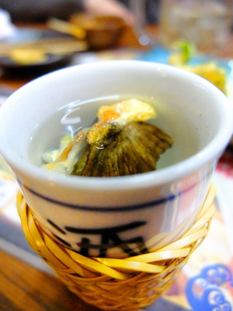 """dried fins put in hot Sake, """"Hire-zake"""""""