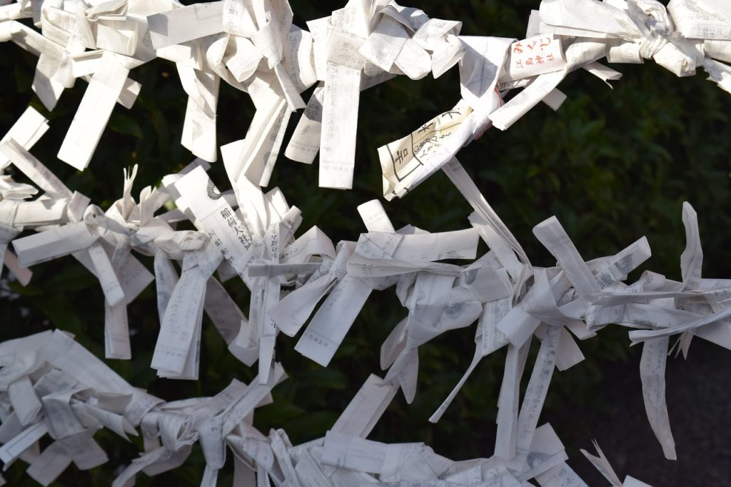 """Omikuji"", fortune slips in Japan"