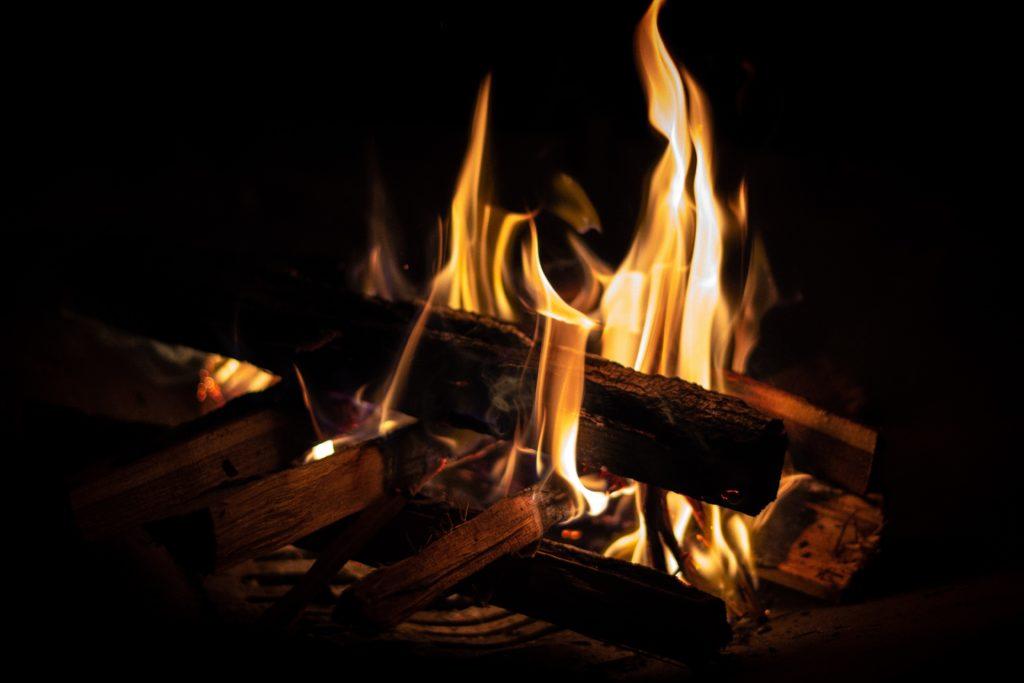 Fireplace #1 暖炉の火— a Haiku