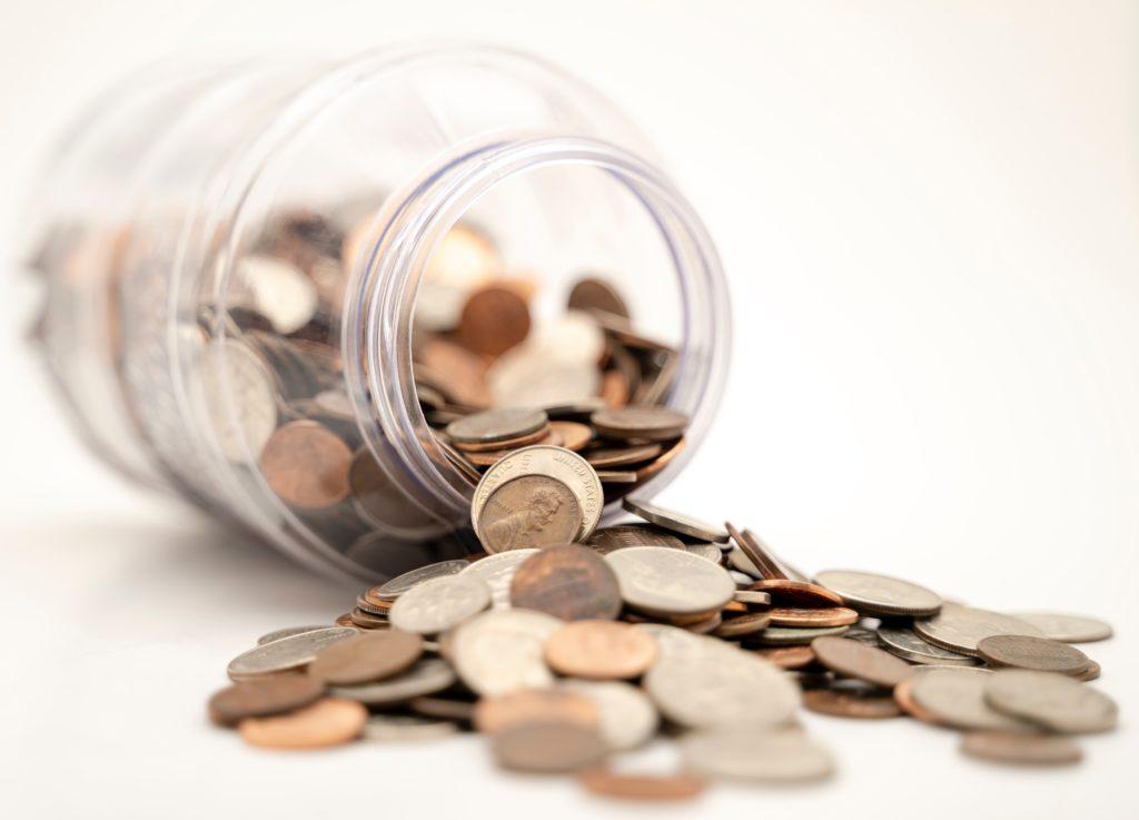 money coins bottle